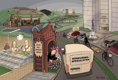 Illustrasjon på oppdrag fra en gruppe veiaktivister i Grenland. Gruppen står selv bak idé, regi og konsept. Publisert i ulike media i 2014. (Photoshop)