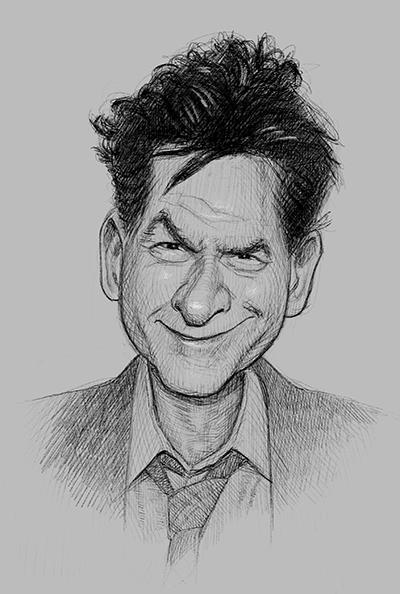 Kjapp skisse av Charlie Sheen. (iPad Pro)