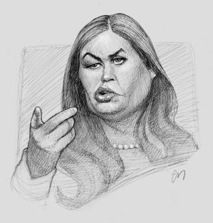 Kjapp skisse av Sarah Huckabee Sanders. (iPad Pro)