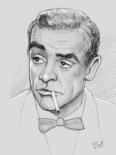Superhemmelig skisse av en like superhemmelig, britisk agent. Basert på Sean Connery i litt yngre dager. (iPad Pro)
