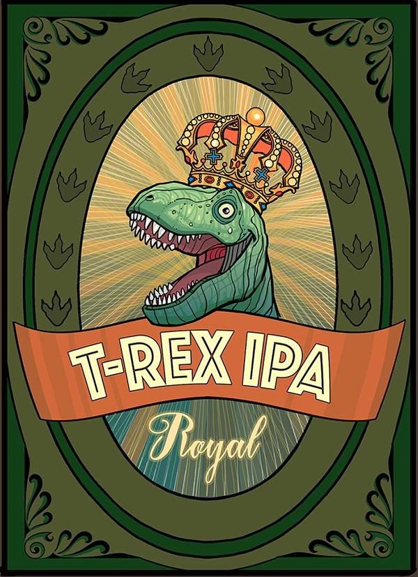 "Øl-etikett, ""T-Rex IPA"". Til bruk i bryllup. (Photoshop)"