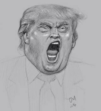 Trump er ferdig karikert fra naturens side, men et interessant subjekt er han nå uansett. :) (iPad Pro)