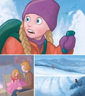 Utsnitt fra barneboken Ylva Redder Skidagen. Utgivelse høsten 2017. Kunde: Cappelen Damm (Photoshop)