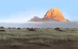 En kjølig og tåkete morgen i Spitzkoppe, Namibia. Brødblingser med syltetøy, oppvarmet kaffe.. og en forfriskende eim av elefantbæsj i luften. Magisk! :) (Procreate, iPad Pro)