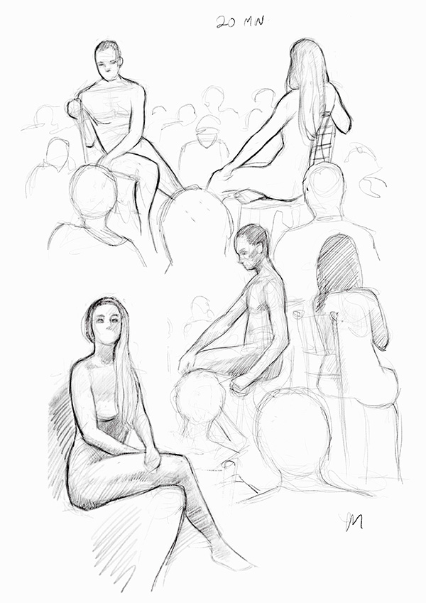 Sketch Night at Society of Illustrators, New York. 20 minutter iPad Pro (Procreate)