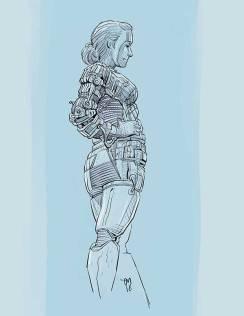 En slags mecha/sci-fi/androide/robot outfit basert på en av mine akt-skisser fra Bergen Akt og Croquis. Dette høyteknologiske fashion-vidunderet består (potensielt) av følende komfortable materialer: Viskose, kevlar, aluminium, messing og bomull. Plagget er videre utstyrt med praktisk laser (funksjonalitet vites sålangt ikke) og plass i front til klippekort for intergalaktiske reiser, stolheis i alpinanlegg osv. Løp og kjøp! NB: Batterier til laser-enheten medfølger dessverre ikke. (Procreate, iPad Pro)