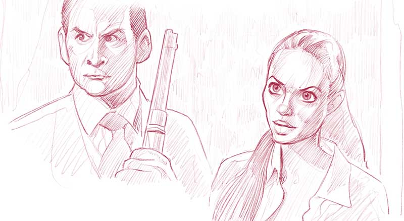 Hurtig studie med utgangspunkt i et stillbilde fra filmen Tomb Raider. (Procreate, iPad Pro)