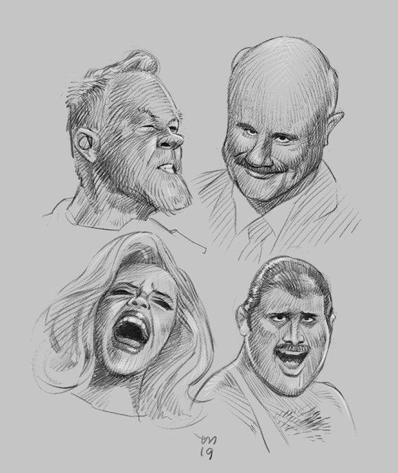 I dag ble det tid til noen (relativt) raske studier av et knippe kjendis-ansikter. Ikke ofte jeg gjør slikt som dette om dagen, så det var ganske morsomt. Bør gjentas oftere. 🙂 (Clip Studio Paint)