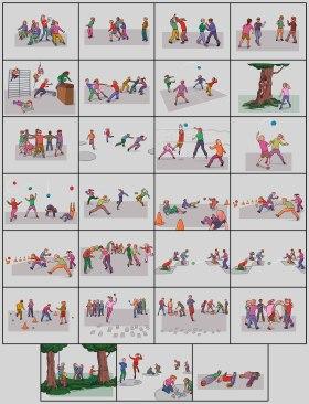 Illustrasjoner til aktivitetskassen.no, et online kartotek over aktiviteter for barn i barnehage og grunnskole. Kunde: Norsk Etat for Mat, Helse og Fysisk Aktivitet. (Clip Studio Paint)