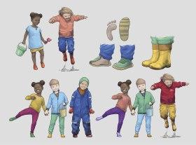 Illustrasjoner til 4 ulike plakater for veiledning om riktig bruk av vinterklær til barn i barnehager. Kunde: October Design AS (Clip Studio Paint, Adobe Photoshop)